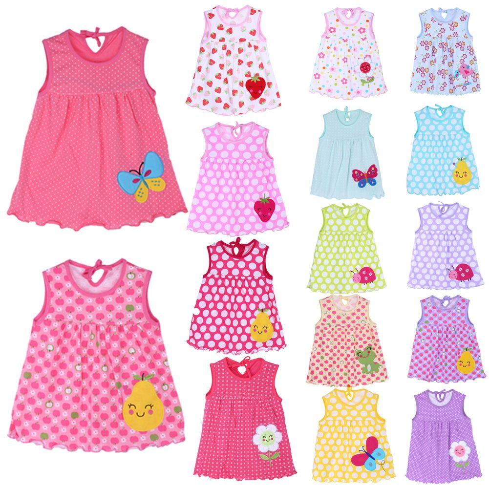 뜨거운 사랑스러운 0-2y 새로운 아기 소녀 옷 dress 패션 순수한면 만화 여자 옷 아기 민소매 dress