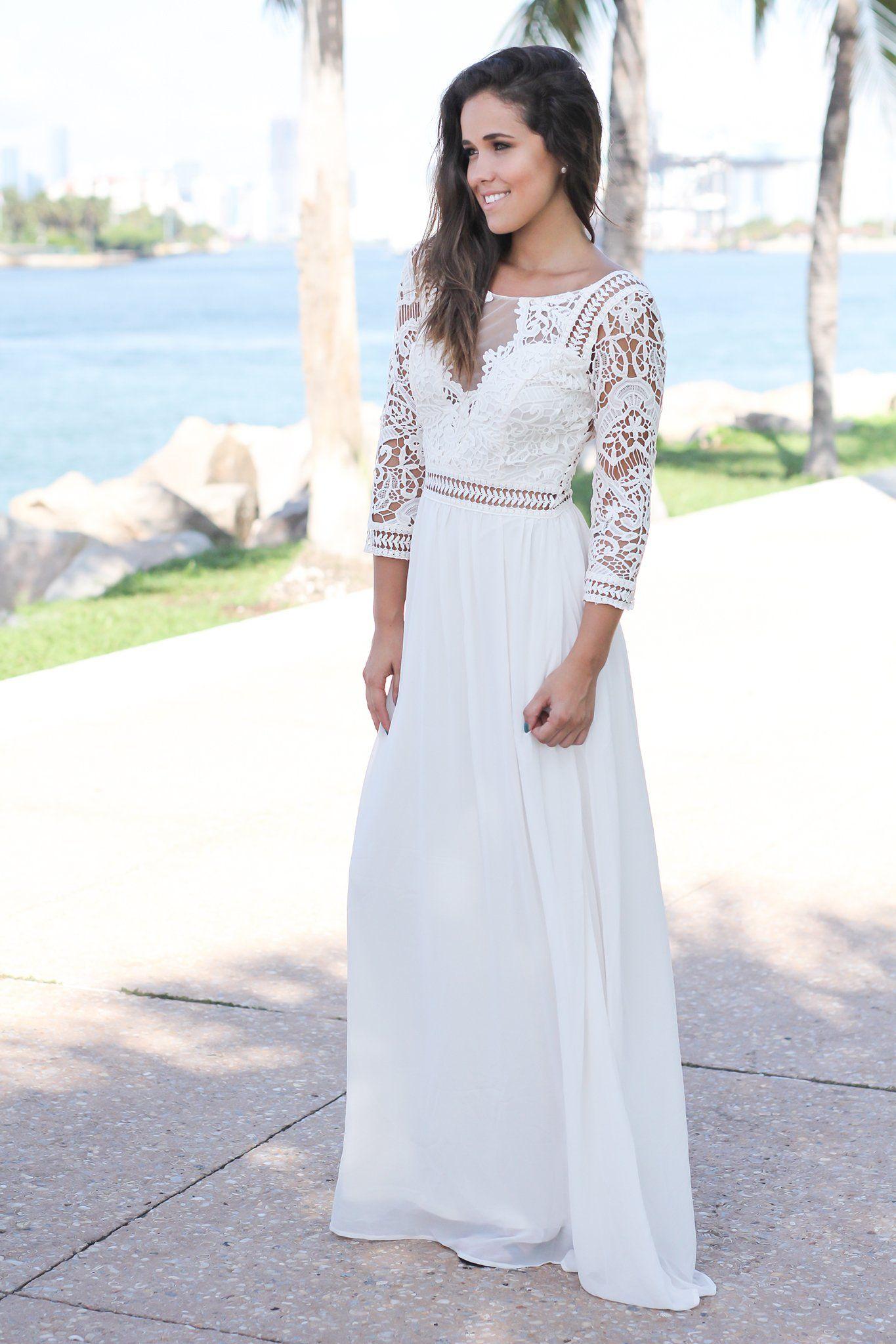 Ivory Crochet Maxi Dress With 3 4 Sleeves Maxi Dress Maxi Dress Party Crochet Maxi Dress [ 2047 x 1365 Pixel ]