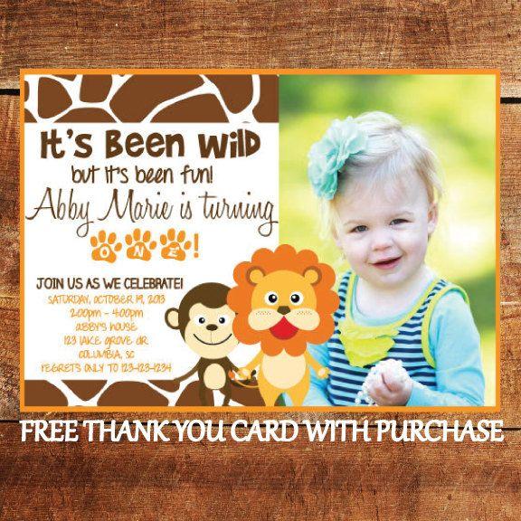 Safari Theme First Birthday Invitation Jungle Animal Printable 1st