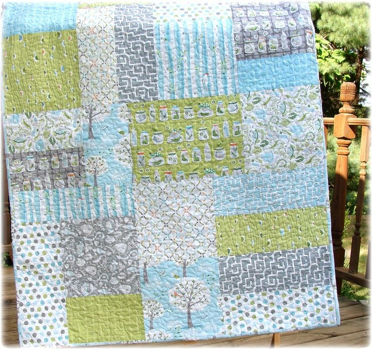 Baby Boy Quilt Modern Big Block Backyard Baby Fabrics CUSTOM Made To Order.  $140.00,