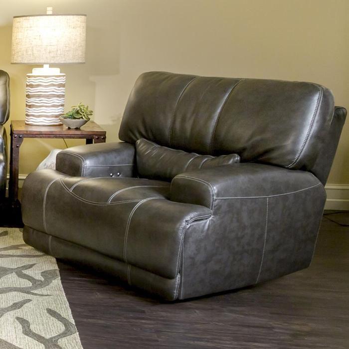 Stampede Charcoal Leather Power Recliner Nebraska Furniture Mart