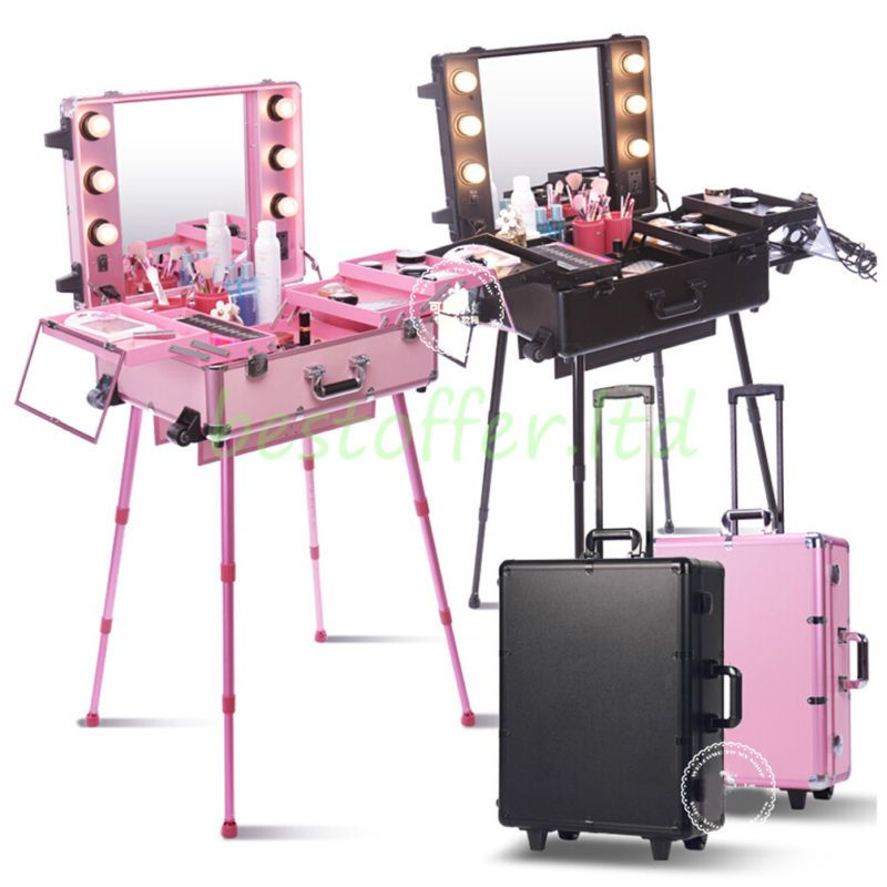 Various Aluminum Rolling Makeup Case Salon Cosmetic Train Box Organizer Trolley