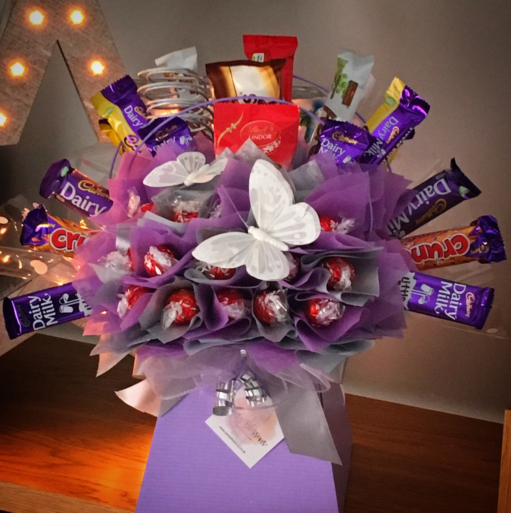 Lilac and Silver ️ Birthday candy bouquet, Chocolate