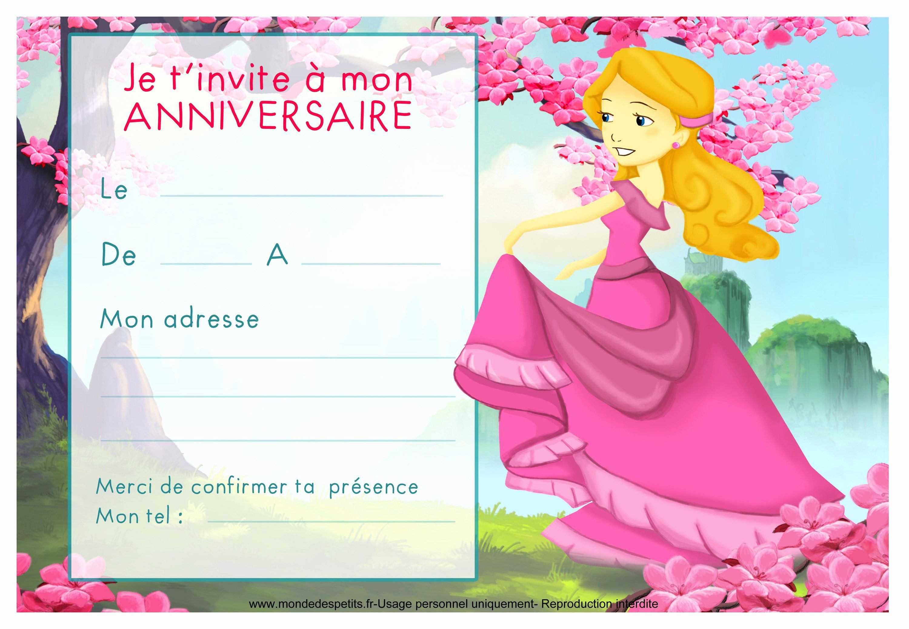 Awesome Invitation Anniversaire Fille 5 Ans Gratuite à Imprimer | Invitation anniversaire ...