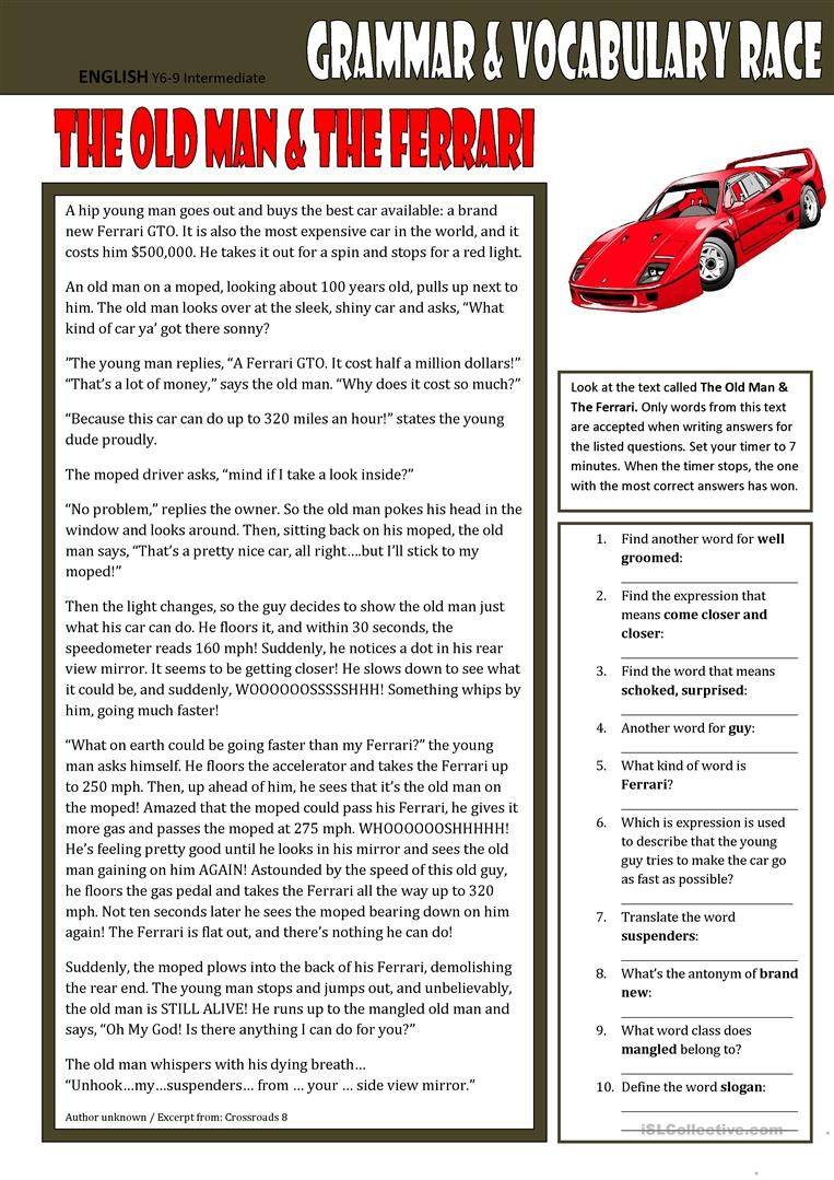 Grammar Vocabulary Race The Old Man The Ferrari Worksheet Free Esl Printable Workshee Grammar And Vocabulary Vocabulary Reading Comprehension Worksheets 12th grade vocabulary worksheets