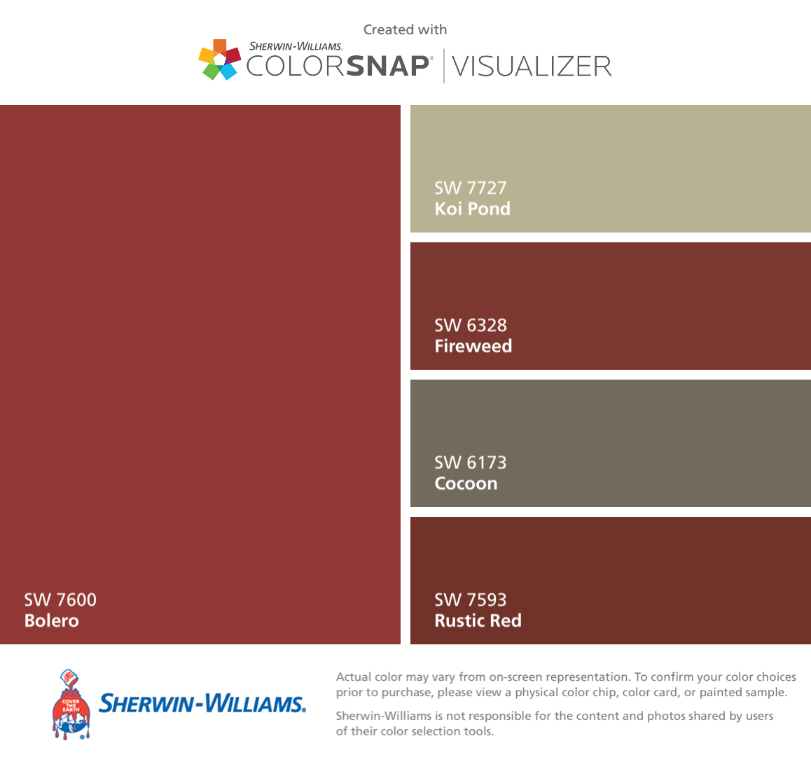 ColorSnapR Visualizer For IPhone By Sherwin Williams Bolero SW 7600 Koi Pond 7727 Fireweed 6328 Cocoon 6173 Rustic Red 7593