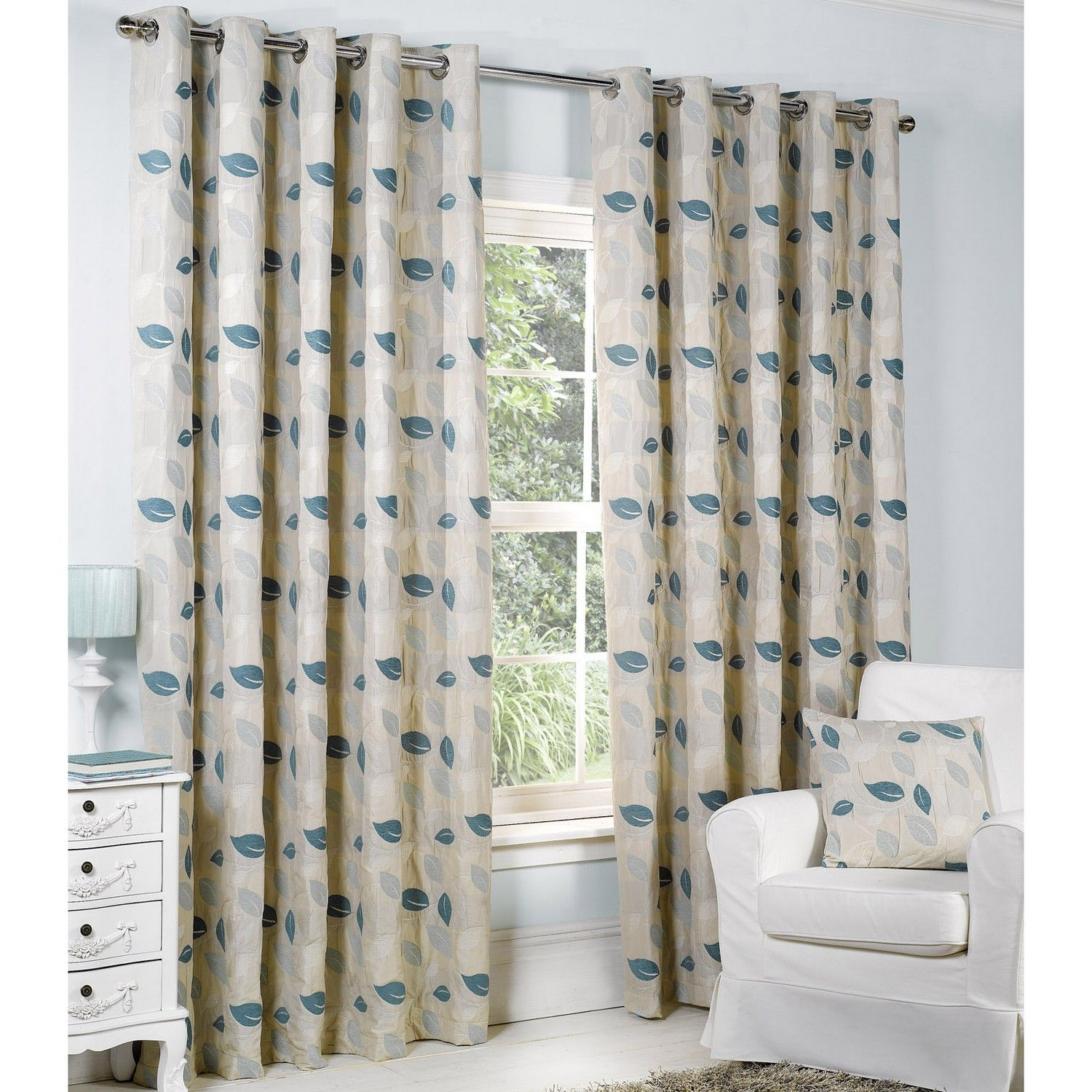 Buy Allen lined eyelet curtains Blue with matching accessories ...