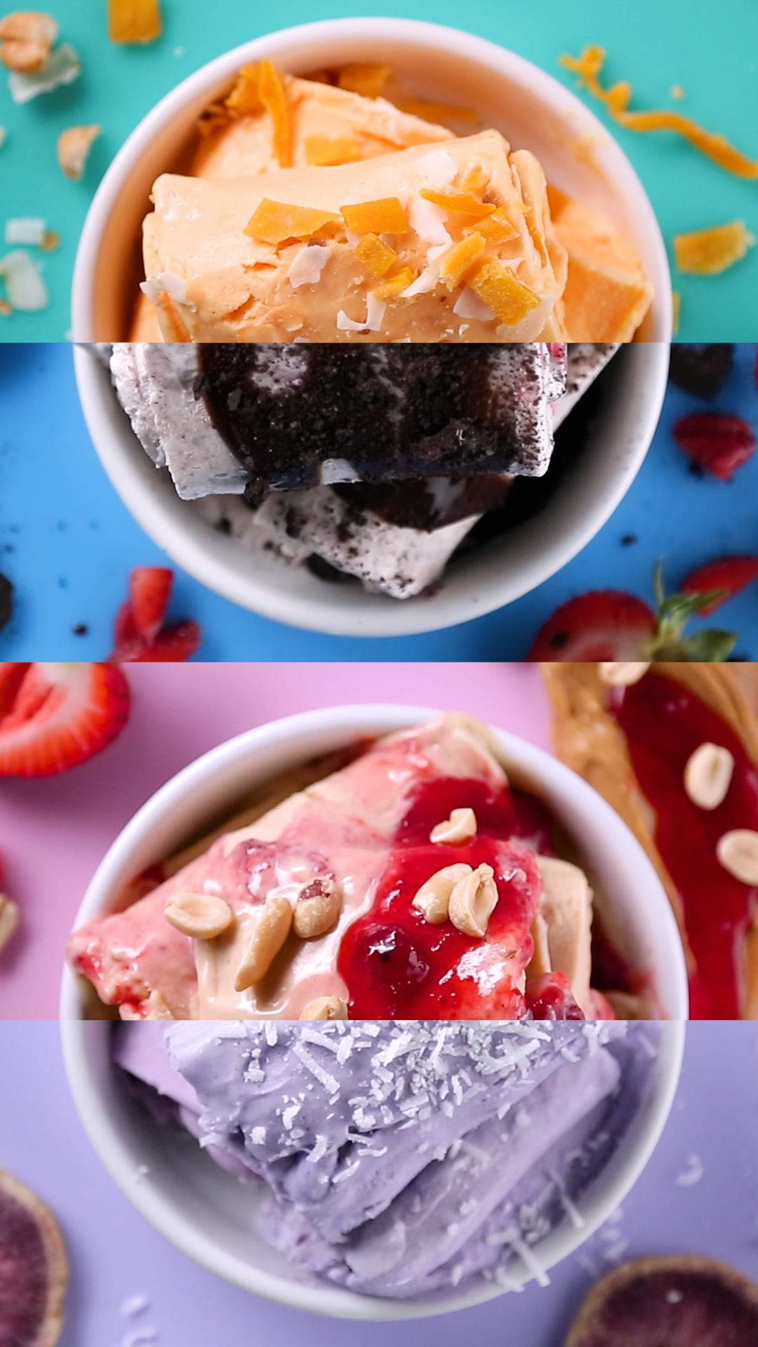 Rolled Ice Cream 4 Ways