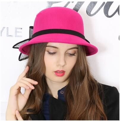 6891bece31c British style bow bucket hat for women warm wool hats autumn