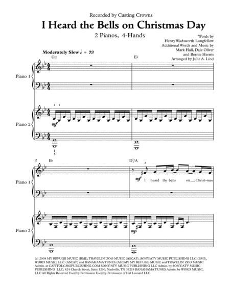 I Heard the Bells on Christmas Day: 2 pianos 4-hands in 2020 | Casting crowns, Sheet music ...