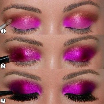 Elegant makeup hot pink eye shadow, definitely get some heads to turn with this look.
