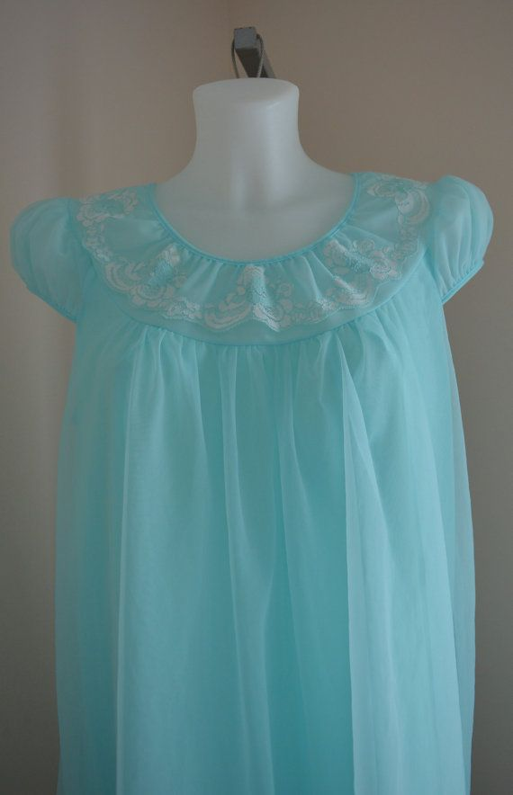 Vintage Nightgown 1960s Nightgown Chiffon by MadMakCloset on Etsy
