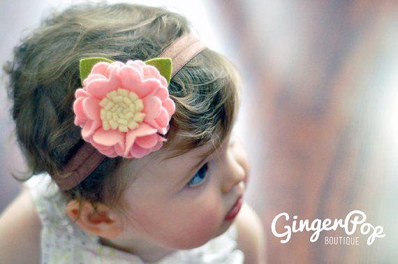 Felt Flower Headband - 100% Wool Felt Pink Ruffle Flower Headband - Hair Accessory and Photo Prop for Babies, Toddlers, & Adults via Etsy