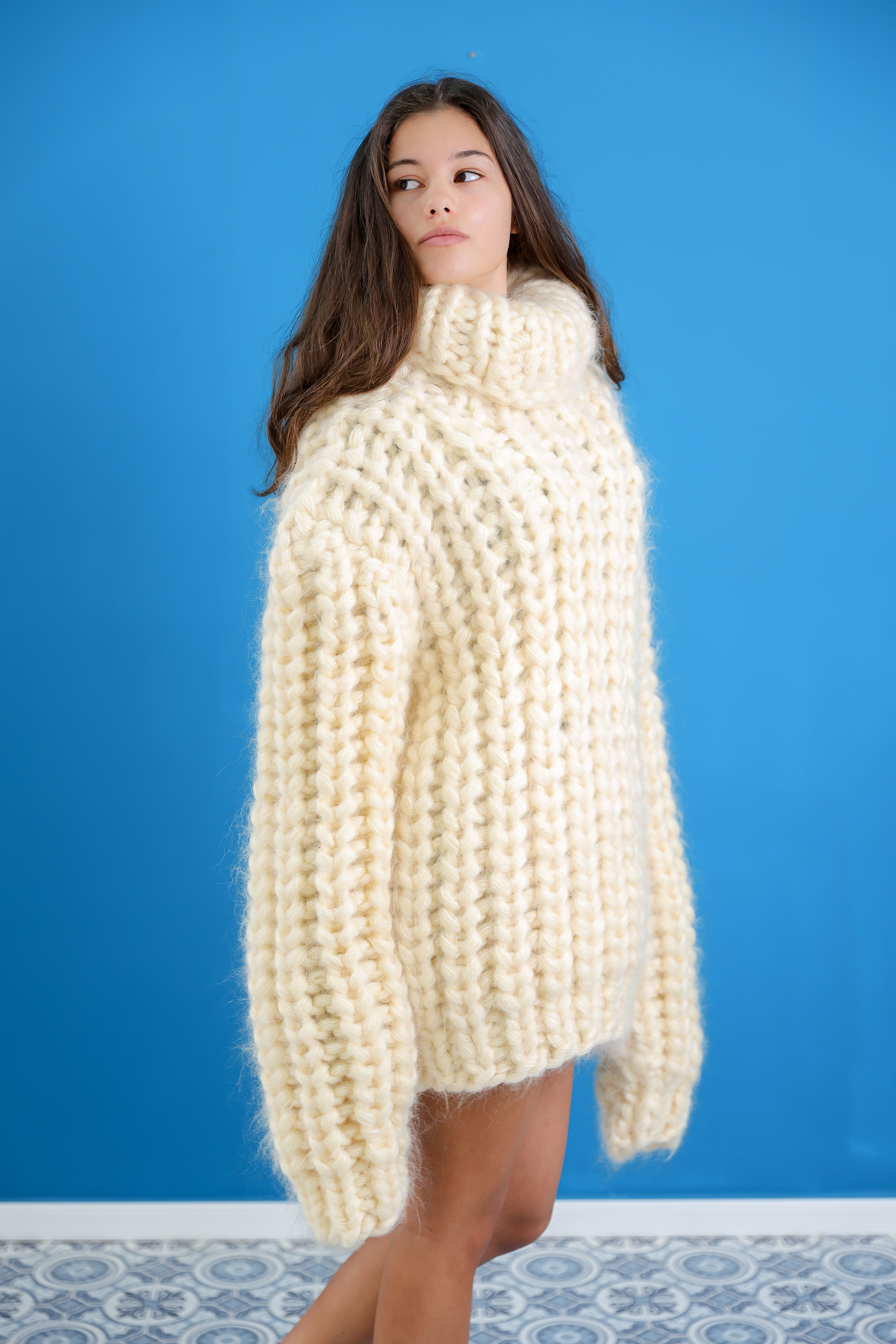 15 strands 3.5 kg Mohair Sweater ,Cream Mohair Knit Sweater,Sexy mohair turtleneck sweater,