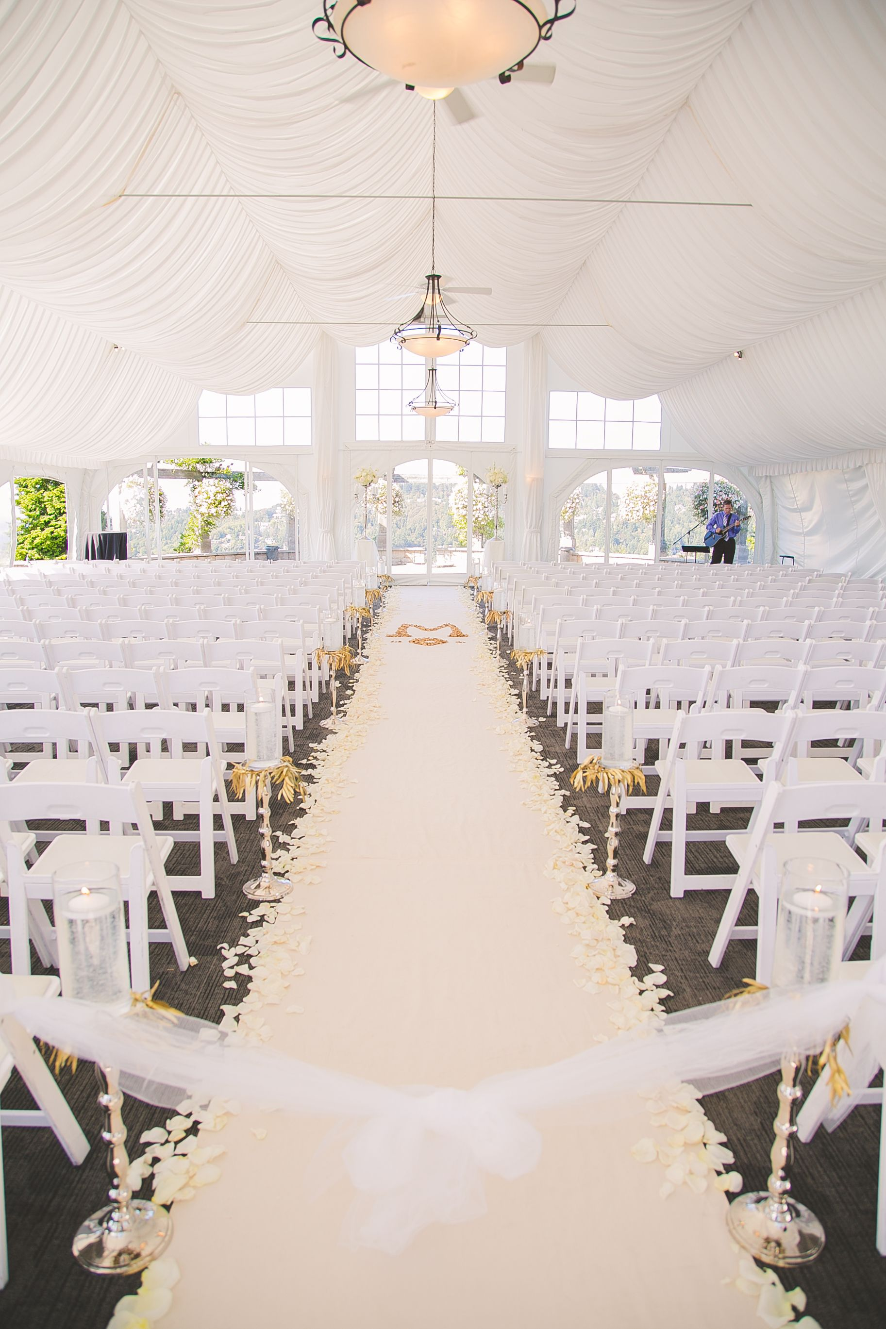 White, Ivory and Gold Tented Ceremony | wedding | Pinterest | Tents ...