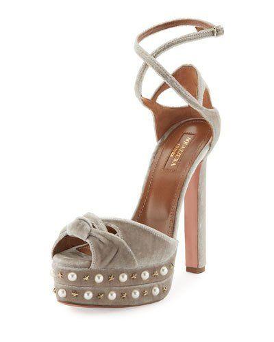 01db23e6428 X3MJK Aquazzura Harlow Pearls Velvet Platform Sandal