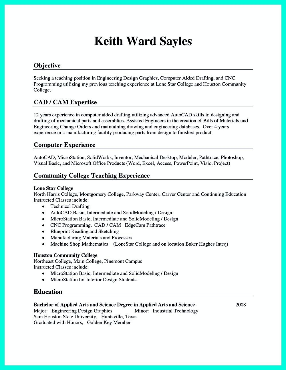 good resume examples for machinist