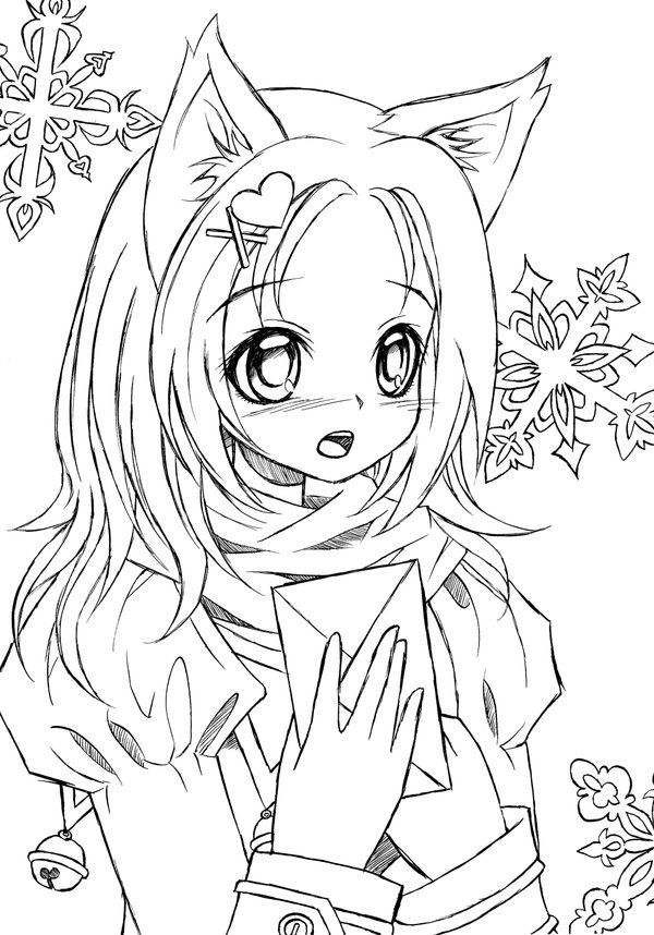 Catgirl Lineart Mermaid Coloring Pages Cartoon Coloring Pages Cat Coloring Page