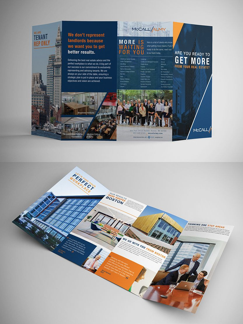 Commercial real estate 4panel roll fold brochure with