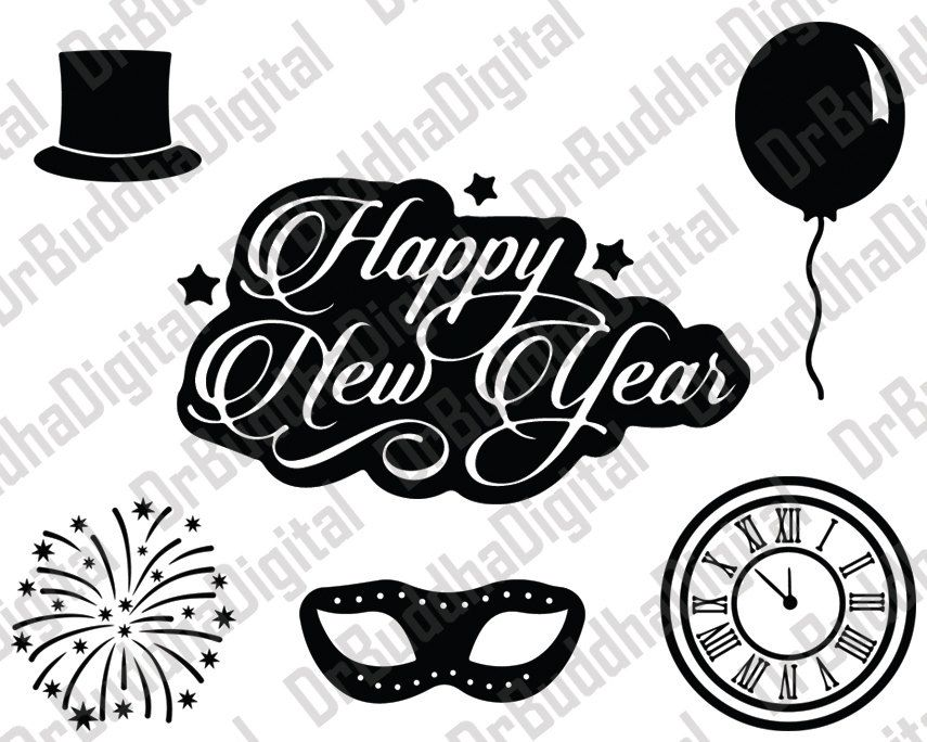 happy new year svg collection new years dxf new year clipart mask balloon hat firework svg files for silhouette cameo or cricut by