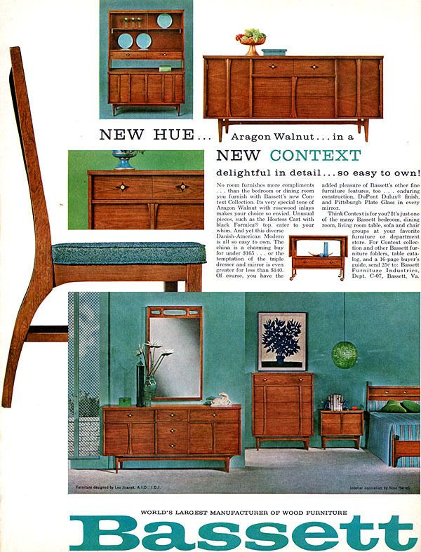 Vintage Bassett Furniture Mid Century Modern Ad 1962