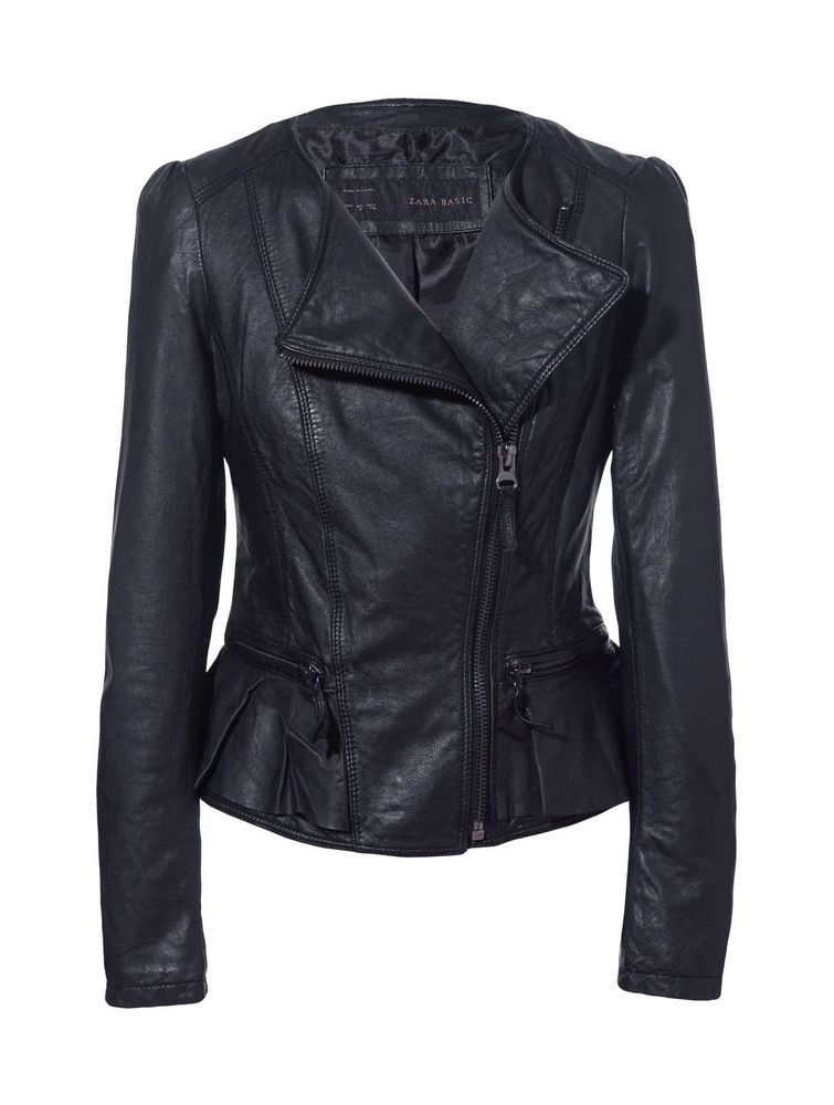 673f8ad57 ZARA Rare BLACK PEPLUM REAL LEATHER JACKET WITH RUFFLE ZIPS SIZE S ...