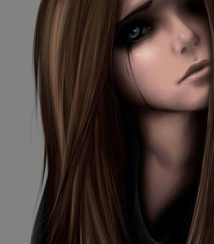 anime girl crying brown hair