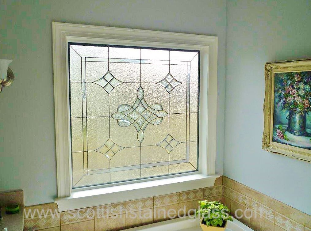 This beveled glass window could brighten up any bathroom window