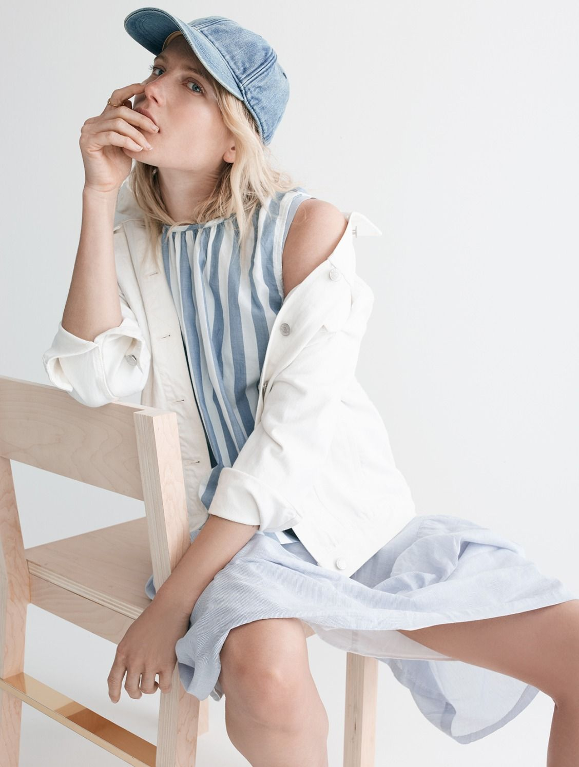 18e2995d204 madewell oversized jean jacket worn with the button-back top + striped midi  dress.