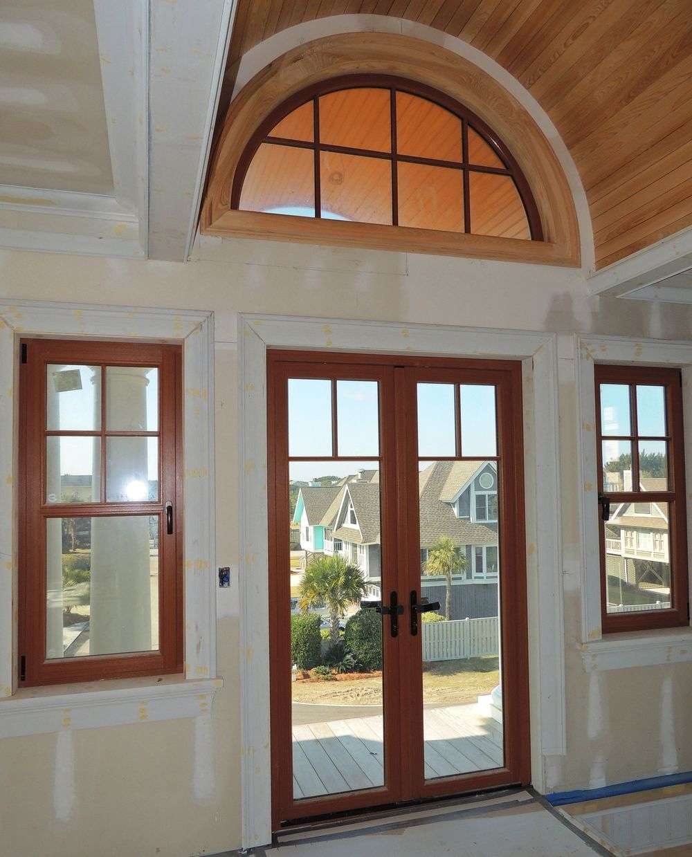 Upvc Out Swing French Door With Impact Glass And Cherry Wood Grain