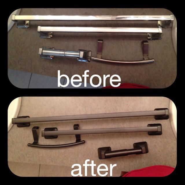 Photo of Cheap bathroom upgrade… $6 metallic black spray paint and old cheap chrome fix…