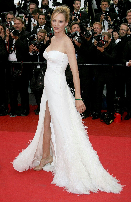 Uma Thruman at Cannes film festival in Versace  Red carpet dresses