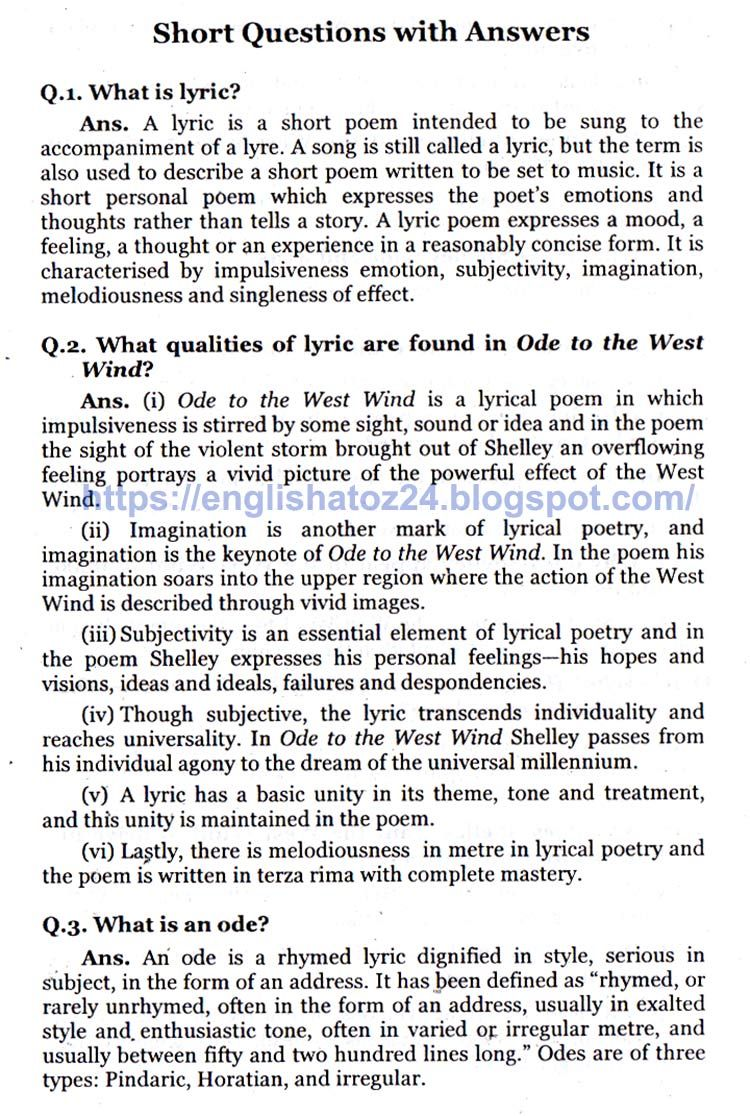 English Grammar A To Z Short Question With Answer Ode The West Wind Percy Bysshe Shelley Thi Or That And Answers