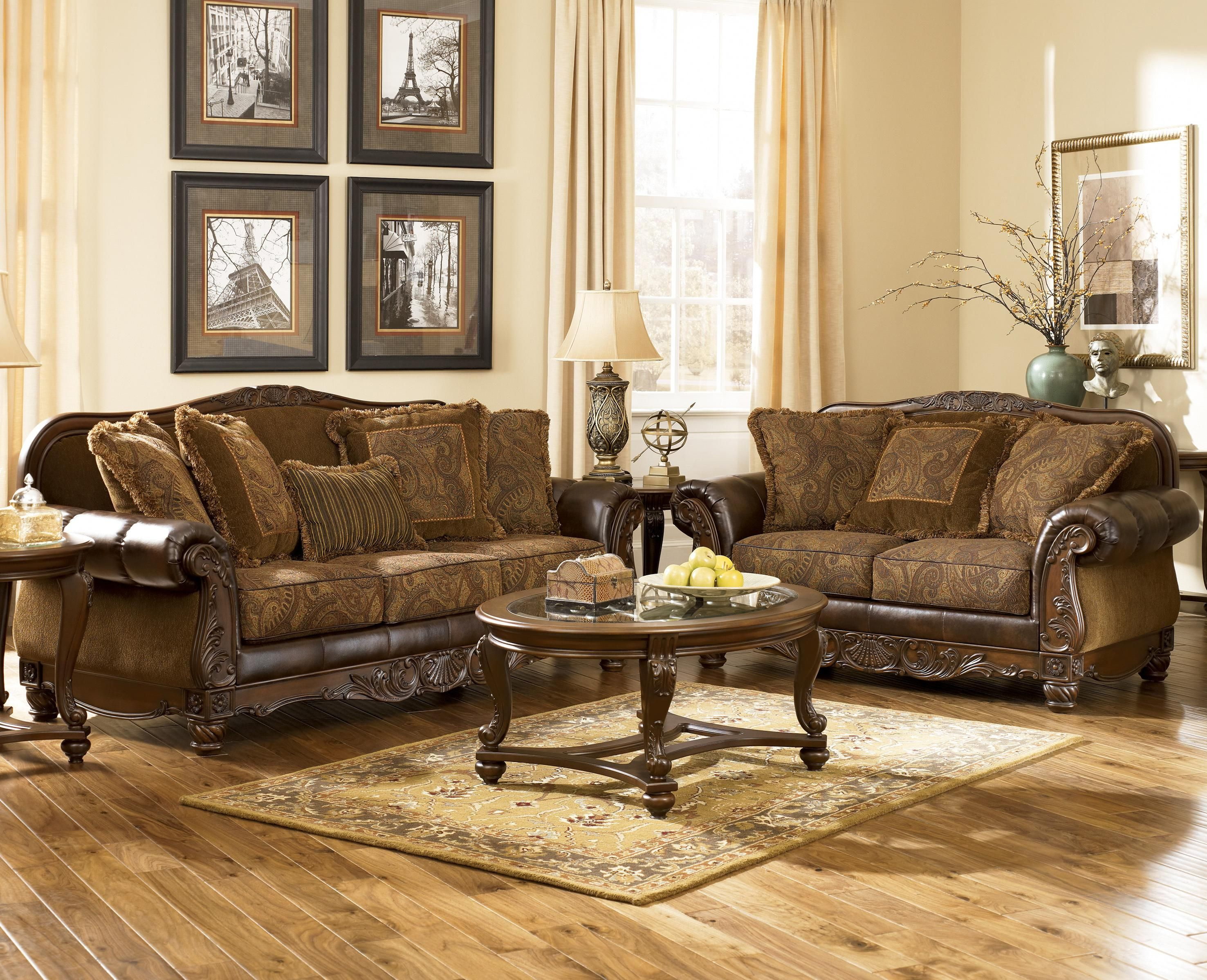 Fresco DuraBlend - Antique Stationary Living Room Group by Signature ...
