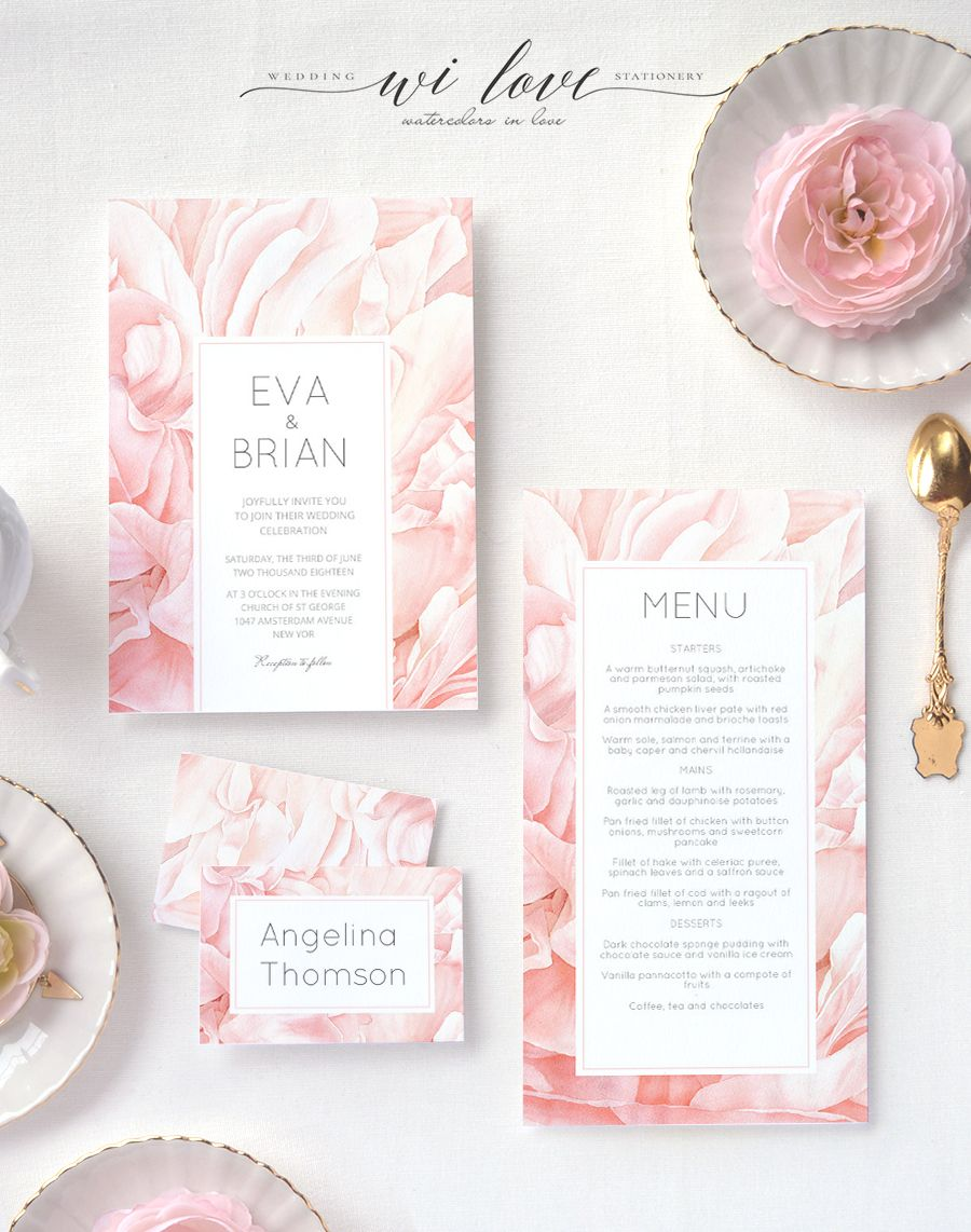 Personalised wedding invitation suite Peony Petals with modern ...