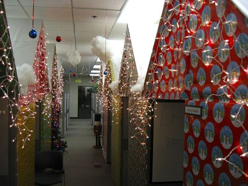 Office Cubicle Wrapped With Paper And Lights Brilliant