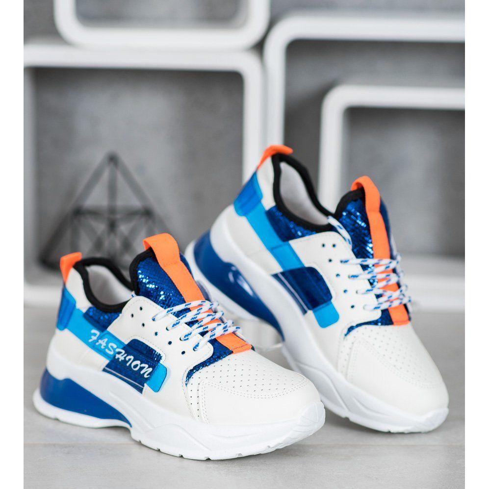 Shelovet Biale Sneakersy Fashion Niebieskie Sneakers Nike Asics Sneaker Nike Huarache