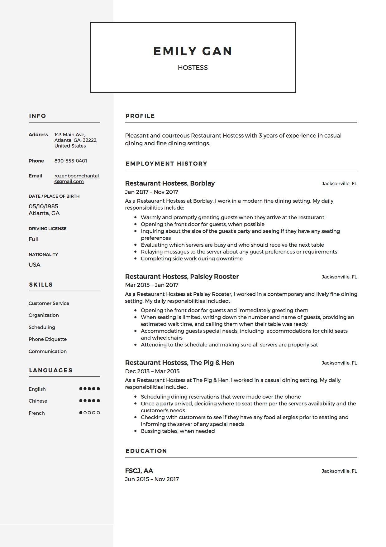 Restaurant Hostess Resume Sample Template Example Resume Samples