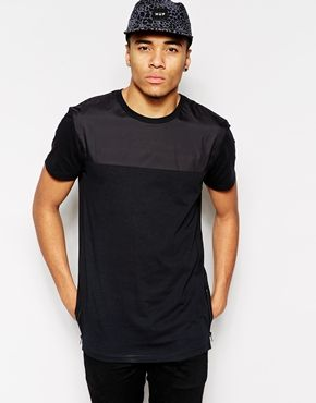 ASOS Longline T-Shirt With Woven Yoke Panel And Side Zips