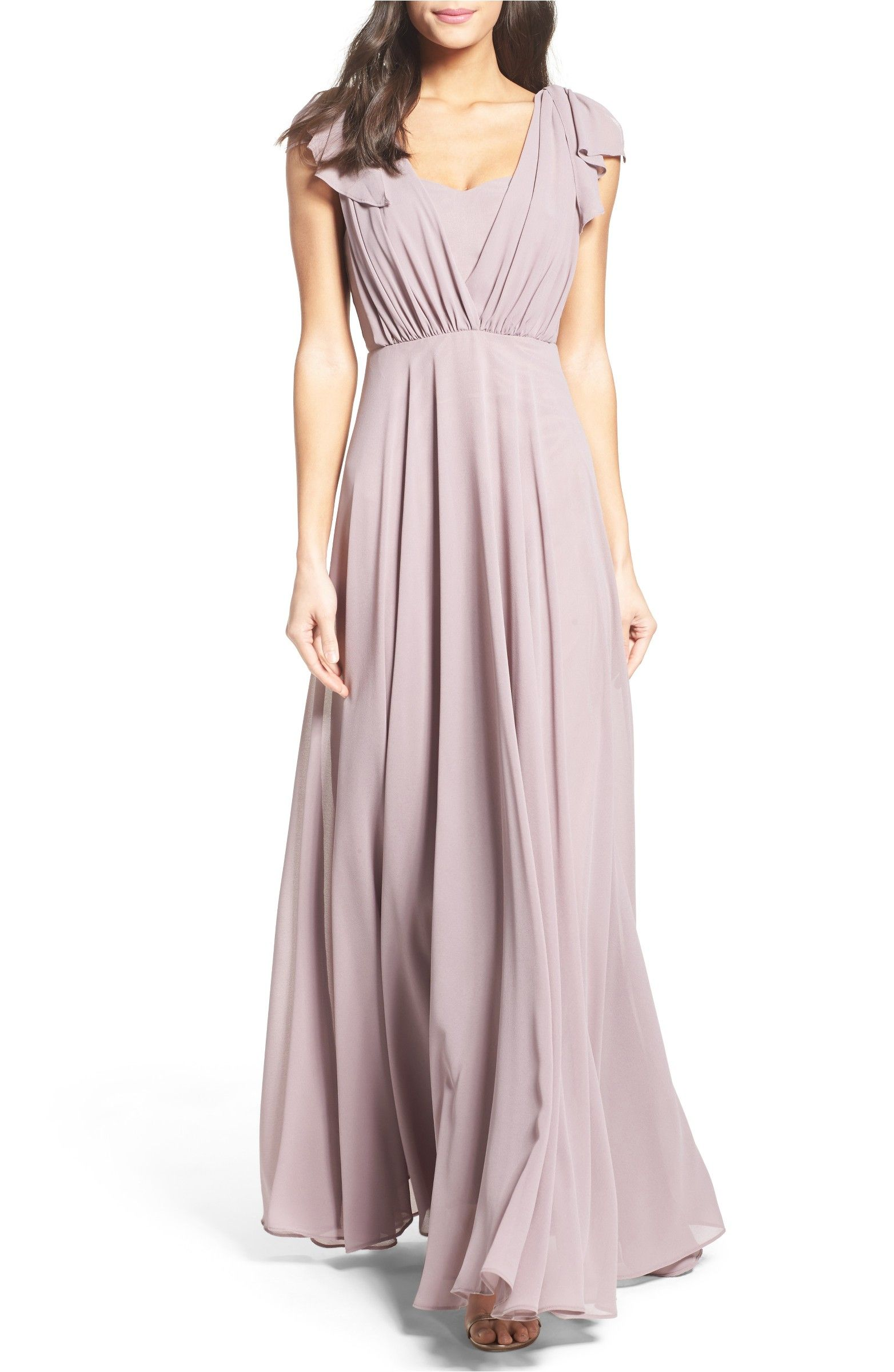 Main Image - Lulus Flutter Sleeve Chiffon Gown