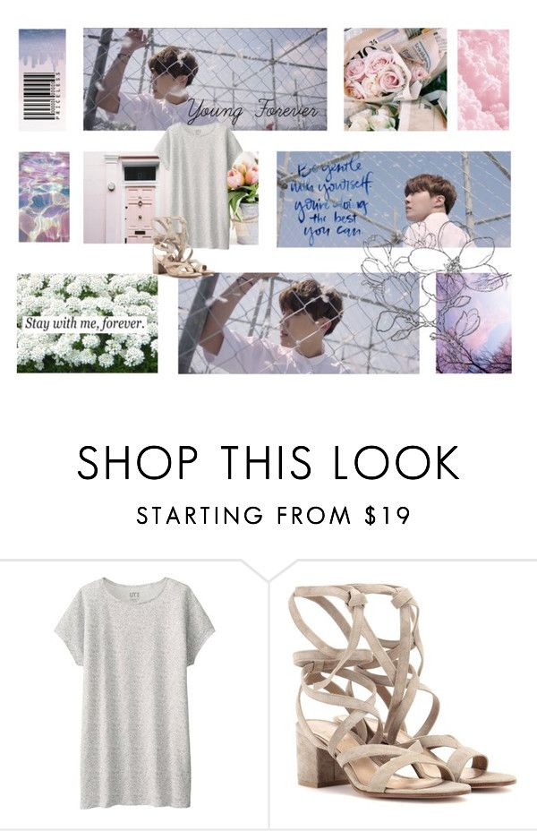 """I Run, So Lost In This Maze."" by linhluvsfashion ❤ liked on Polyvore featuring Uniqlo, Gianvito Rossi and Love Quotes Scarves"