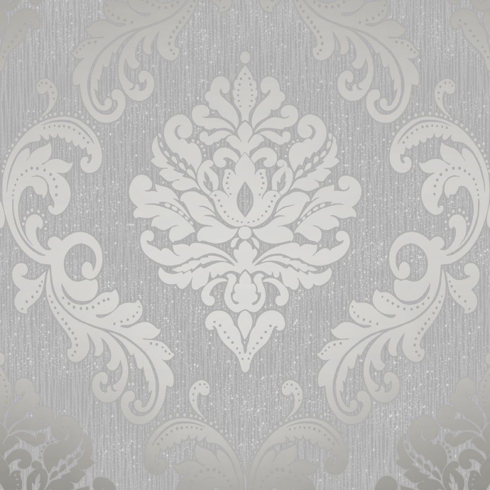 Chelsea Glitter Damask Wallpaper Soft Grey Silver H980504