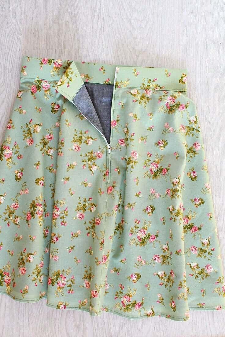 Easy lined half circle skirt sewing tutorial making a half circle