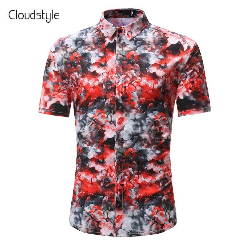 090a29756e Cloudstyle Unique Flower 3D Printting Summer Short Sleeve Men Shirt   wholesalemenHawaiishirt  wholesalemenshiirtsupplier  plussizemenshirt ...