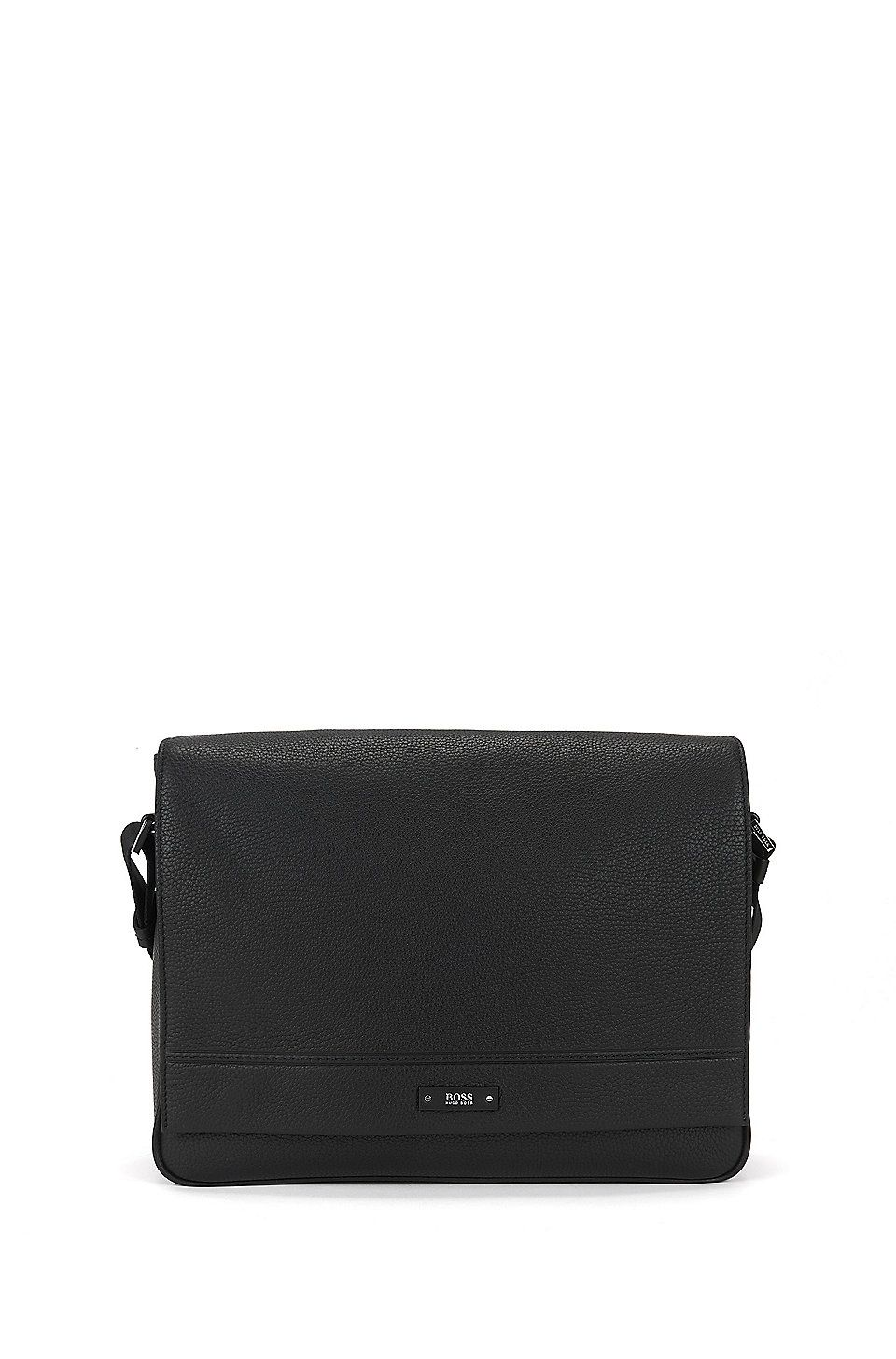 f6b93ad15 HUGO BOSS Messenger bag in soft grained leather - Black Shoulder bags from  BOSS for Men