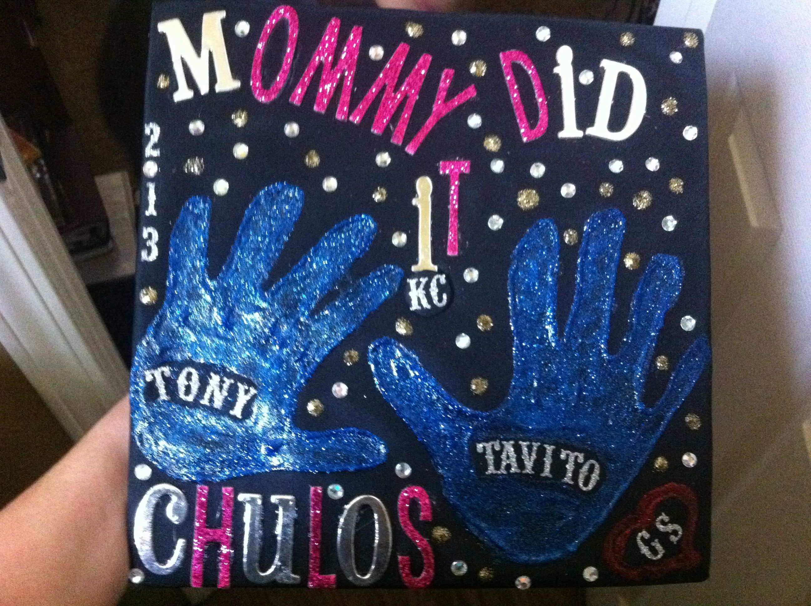 Grad Cap decorated with kid s handprints Decorations
