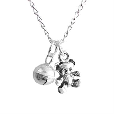 Childrens Tiny Teddy Charm Necklace (One Off) - £29 from www.dreamofsilver.com - perfect Christening gift!