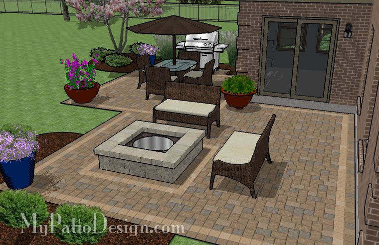 545 Sq Ft Fun Family Patio Design With Fire Pit Inexpensive