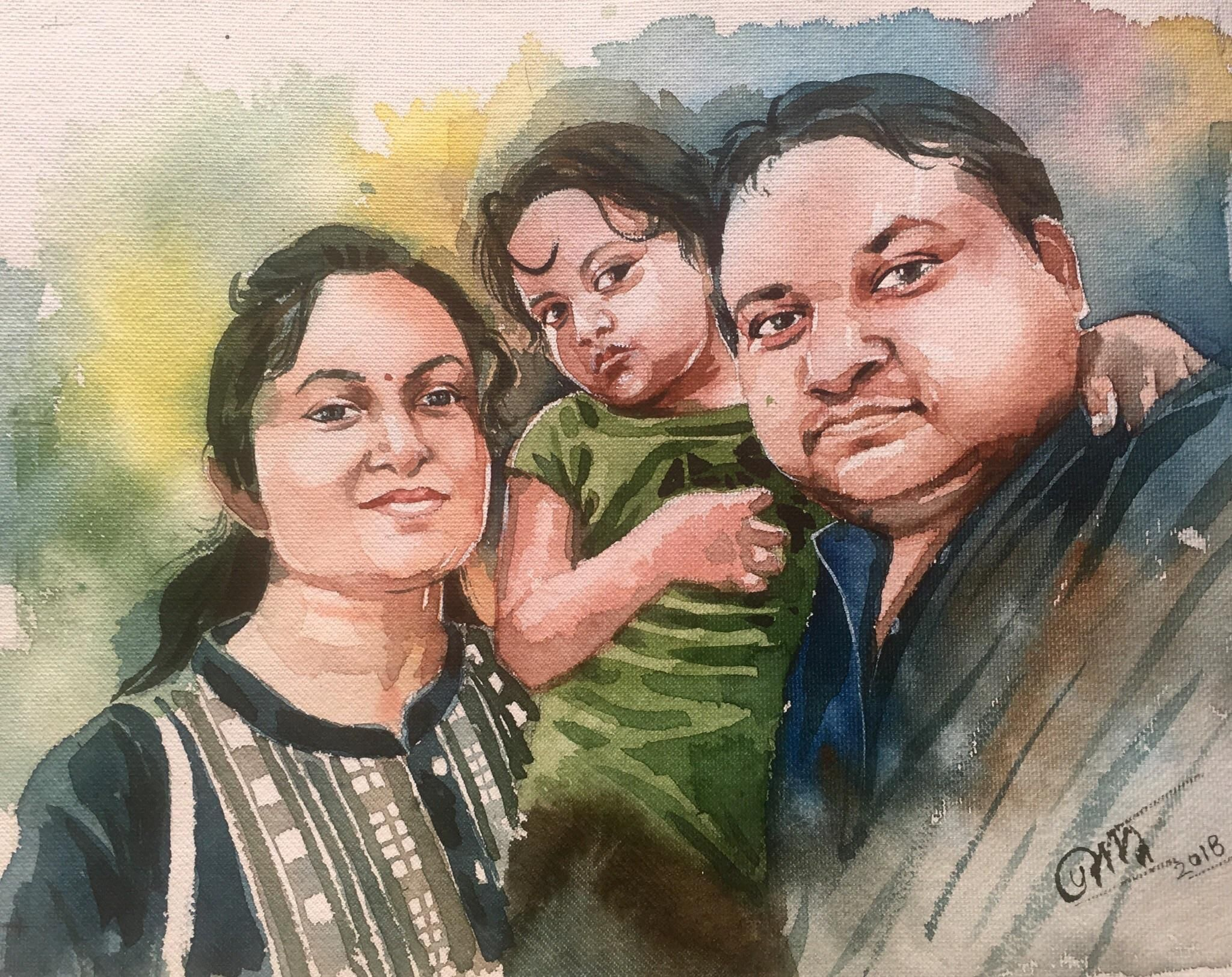 Family Portrait Of A Friend Watercolor On Paper Size 15 X 11 Inches