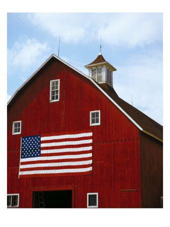 Barn Door With American Flag American Barn Red Barns Country Barns